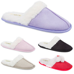 Ladies Slip On Warm Winter Slippers Size 3 to 8 UK - FAUX SUEDE & FUR LINING