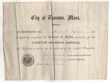 1894 TAUNTON MASSACHUSETTS Grammar School DIPLOMA Elementary PORTUGUESE Sylvia