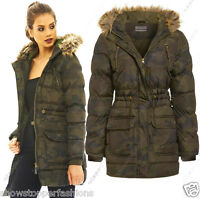 New Women's Ladies Camouflage Military Padded Army Parka Coat Jacket Size 8 16