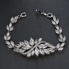 White Gold Color AAA Cubic Zirconia Bracelet Bangle Party Casual Bridal