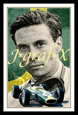 JIM CLARK - FORMULA 1 & INDY CHAMPION - PORTRAIT POSTER - REALLY COOL ARTWORK!!!