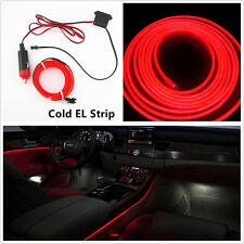 12V Red Cold EL Wire Car Interior Neon Glow Decoration Lights Strip 2M For Honda