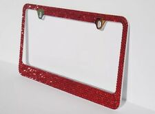 7 Rows RED Color Bling Crystal Rhineston METAL License Plate Frame