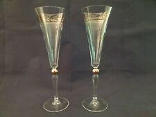 "Pair Godiva 10"" Crystal Champagne Flute/Glasses w/ Gold Accents Millennium 2000"