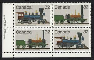 HISTORY = LOCOMOTIVES (1836-1860) = Canada 1983 #1000a LL PLATE Block of 4 MNH