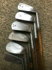 Player hickory Spalding Accurate Hammer golf iron set with putter