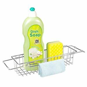 Telescopic Sink Storage Rack Stainless Steel Kitchen Sink Caddy with Towel Dr...