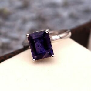 Natural Iolite Simple Stacking Vintage Ring 925 Sterling Silver Ring Bohemian
