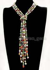Baroque 6-7mm Multicolor Natural Long Pearl Necklace for Women 3 Strands 45''