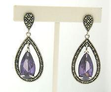 NEW Sterling Silver Pear Shaped Purple Amethyst & Marcasite Halo Dangle Earrings