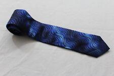 KR3431 Monti  Krawatte  blau, schwarz gestreift