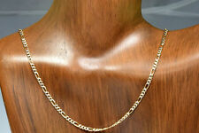 Women's 10k Solid Yellow Gold 2.2 mm Diamond Cut Figaro Chain 16 in Reversible