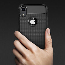 For iPhone 7 8 Plus X XR XS MAX Carbon Fiber Shockproof Bumper Rubber Case