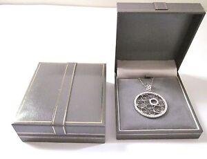 GREY Leatherette Pendant Necklace Jewellery Gift Box-Grey Velvet Gold Trim-RP57