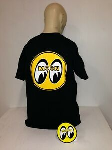 Mooneyes t-shirt round yellow black size XXL 32 roadster hot rod ford