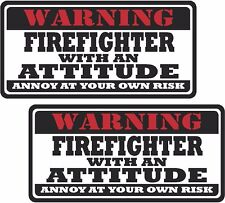 "2 - 3"" Firefighter Worker Warning Tools Motorcycle Decal Hard Hat Sticker WS1"