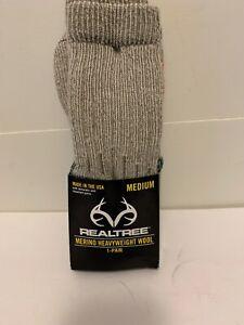 1 Pair Realtree  Merino Wool Boot Sock Made In USA. Size Medium