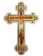 """Wooden Icon Wall Cross Crucifixion of Christ With Crystal Incense 11"""" Skull"""