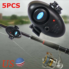 5PCS Electronic Night Bite Fishing Alarm Alert Bell Clip on Rod with LED Light