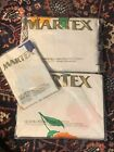 Vtg Martex Cut Flowers Queen Sheet Set Flat & Fitted NOS Cases Sealed Packages