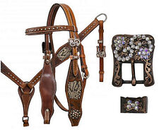 Western Horse Bling! Leather Tack Set Bridle Headstall + Breast Collar Snakeskin