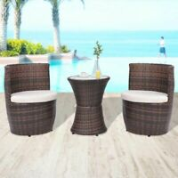 vidaXL Garden Furniture Set 5 Piece Poly Rattan Wicker Brown Outdoor Dining