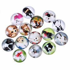 20mm 10 Randoml Mixed Dog Glass Cabochons Dome Flat Back Beads Lot Pendant DIY