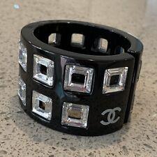 Chanel Black Acrylic Lucite Cuff Bracelet