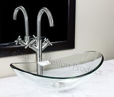 Bathroom Clear Oval Glass Vessel Vanity Sink Nickel Faucet & Drain TB15N6