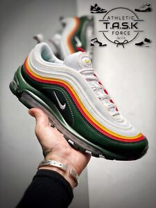 Nike Air Max 97 White Evergreen Yellow Red Green Pine Sonics Sz 11 CK0224-100