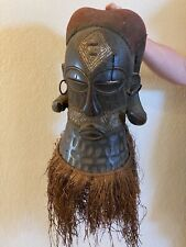 SBK Older Large Luba mask from wood, metal, grass DRC Congo, Central Africa