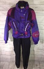 Vtg 80s SPYDER Iridescent Womens 8 One Piece Snow SKI Suit BIB Coat Snowsuit