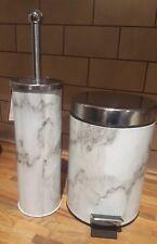 NEW GREY WHITE MARBLE EFFECT BATHROOM PEDAL BIN & TOILET BRUSH SET METAL CHROME