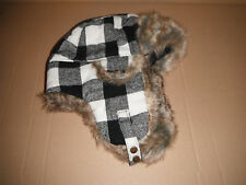WOOLRICH BOMBER AVIATOR TRAPPER HAT white black PLAID LARGE NEW