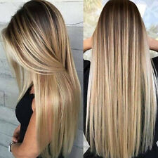Women's Ombre Gold Blonde Long Straight Wig Hair Daily Natural Party Wigs US
