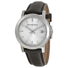 Burberry BU9008 The City Silver Check Black Leather Classic 38MM AUTHENTIC NEW