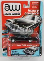 2018 AUTO WORLD 1:64 *PREMIUM 4A* SABLE BLACK 1976 Cadillac Coupe DeVille NIP