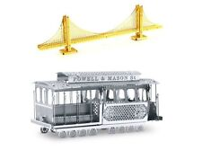 Metal Earth 3D Laser Cut Model Kits Golden Gate Bridge & Cable Car = SET OF 2
