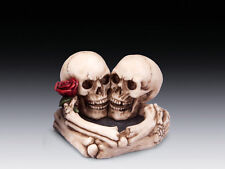 LOVERS ROSE ASHTRAY SKULLS SKELETON FIGURINE STATUE HALLOWEEN