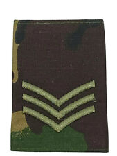 British Army Sergeant SGT Woodland DPM Single Rank Slide -United Kingdom