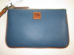 NEW DOONEY & BOURKE Pebbled Leather LARGE WRISTLET Jeans Blue WPEBC0333