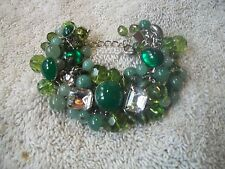 JOAN RIVERS VTG. Signed BRACELET Fun BIG Chunky Beads in Greens Clear Crystals