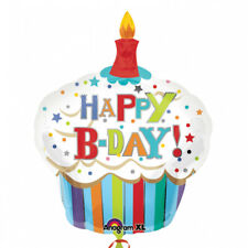 Happy Birthday Striped Cupcake Supershape Foil Balloon