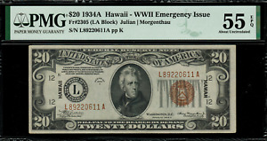1934A $20 Hawaii WWII Emergency Issue FR-2305 - Graded PMG 55 EPQ