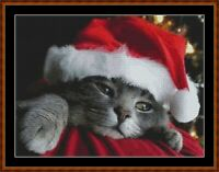 CHRISTMAS PREPARATIONS cross stitch pattern PDF (point de croix) [cat kitten]