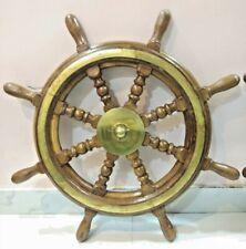 NAUTICAL REPLICA SHIP STEERING WHEEL WOODEN & BRASS 1 PIECE (30 INCH )