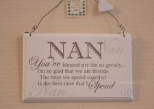 Wall Plaque Nan You've Blessed My Life So Greatly Wooden Cream Sign 18cm F0847A