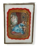 Dreaming of a Wedding Antique French Print Litho Under Glass 3 1/2 x 5