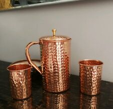 1x COPPER WATER JUG HAMMERED WITH 2 X MUGS TUMBLERS (PURE COPPER) FREE SHIP