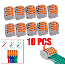 10PCS SPRING LEVER TERMINAL BLOCK ELECTRIC CABLE WIRE CONNECTOR 5 WAY SP